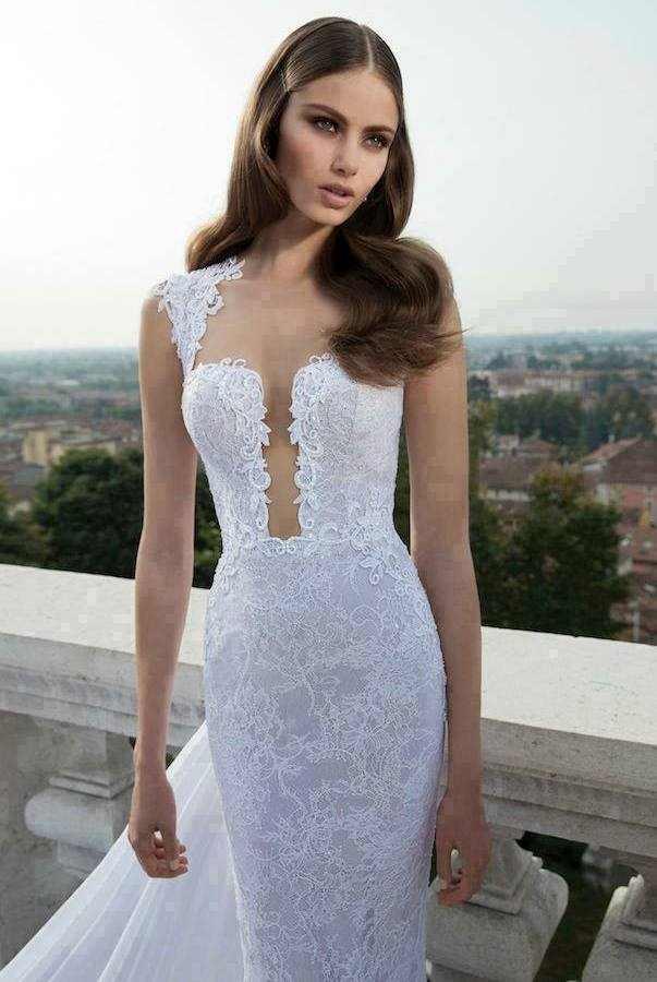 beyaz dantelli abiye elbise modeli