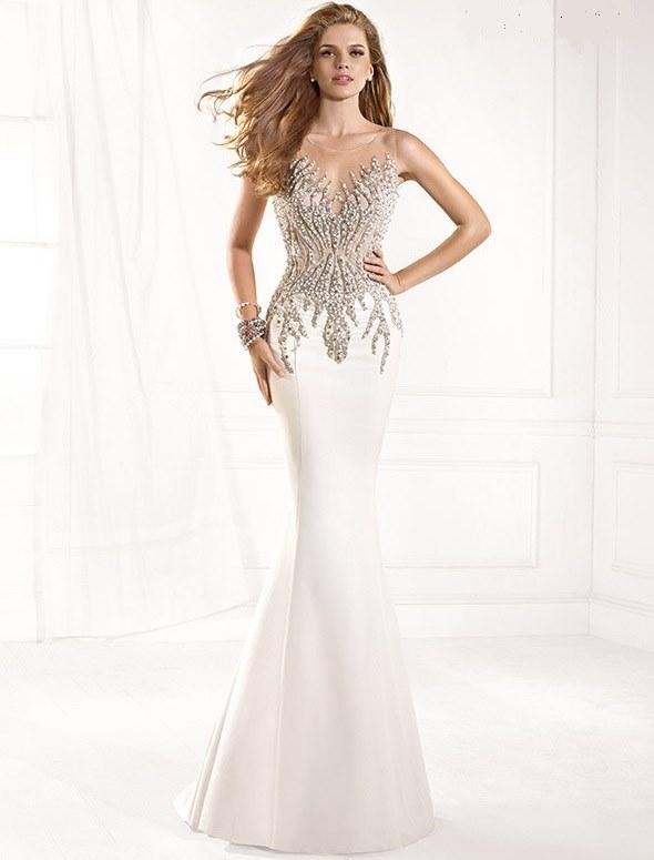 beyaz işlemeli tarık ediz gece elbisesi modeli