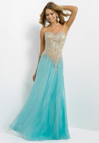 etek kısmı mavi üstü kısmı dore işlemeli straplez elbise modeli