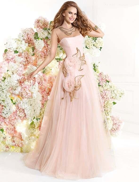 pembe gül işlemeli abiye elbise