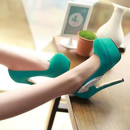 süet mint yeşili topuklu ayakkabı modeli