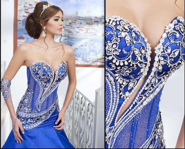 saks mavi gümüş işlemli straplez abiye elbise modeli