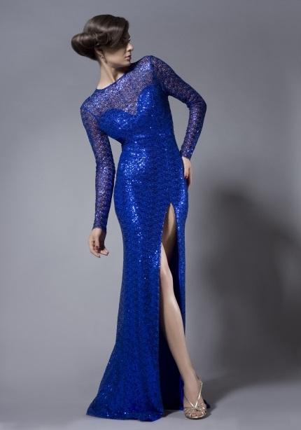 saks mavisi yan yırtmaçlı abiye elbise