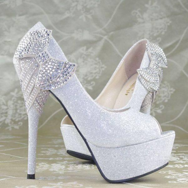 simli platform topuklu yanı kurdeleli gelin ayakkabısı