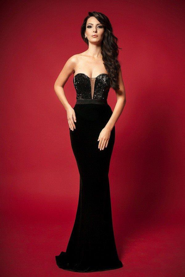 siyah payetli straplez şık abiye elbise modeli
