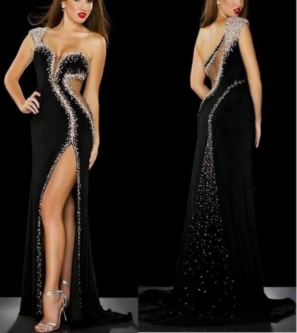 siyah simli yan yırtmaçlı abiye elbise modeli