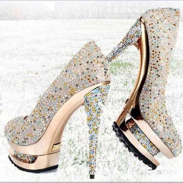 taşlı dore abiye ayakkabı