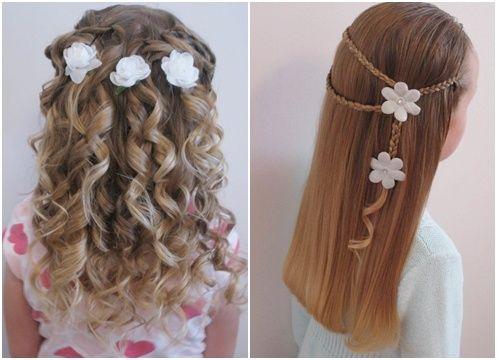 çiçek detaylı çocuk saç modelleri