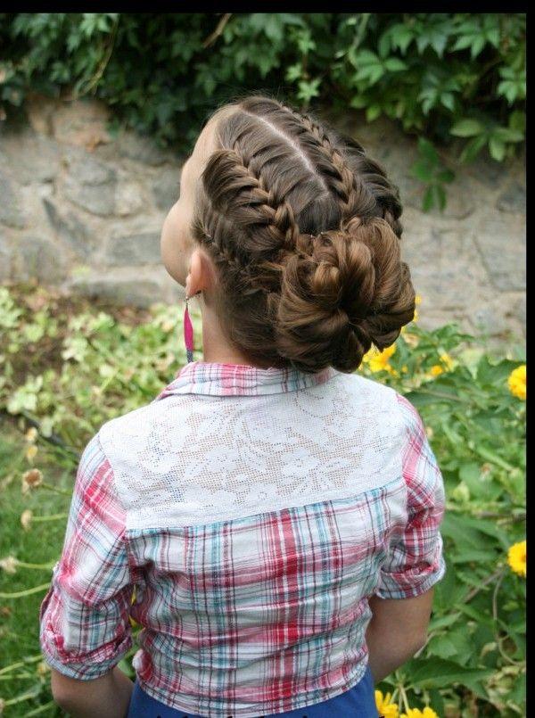 balık sırtı topuz çocuk saç modeli