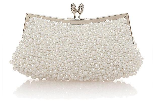 beyaz inci detaylı gece çantası