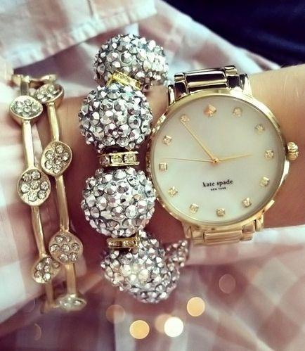cate spade tasarım şık altın saat modeli