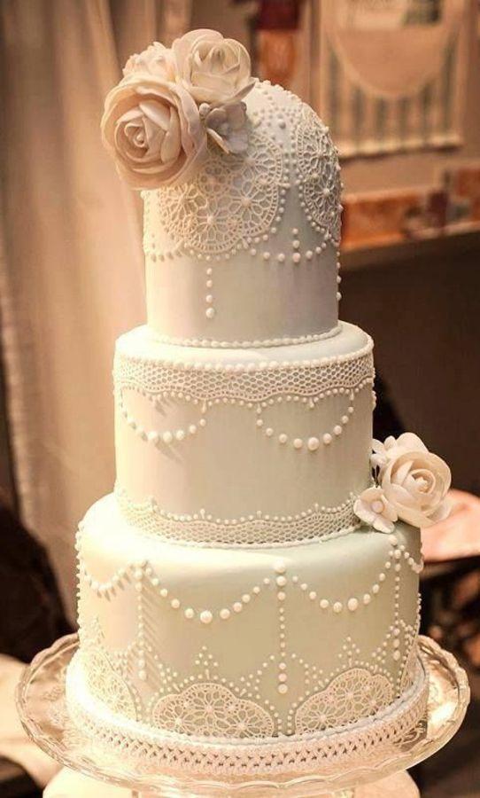 dantelli düğün pastası