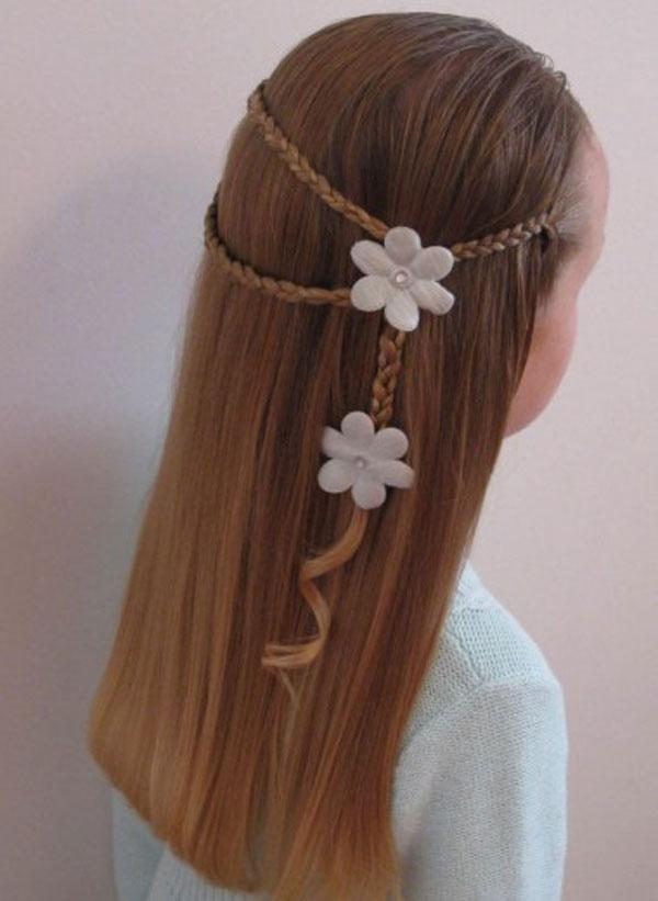 fönlü çiçek detaylı çocuk saç modeli