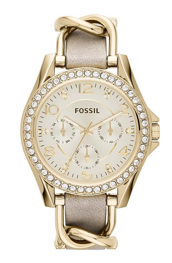 fossil tasarım zincirli altın saat modeli