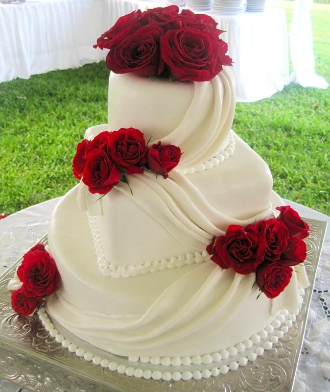 gerçek gül detaylı düğün pastası