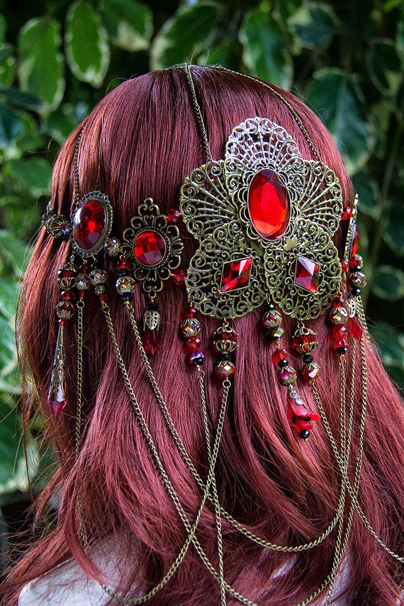 kırmızı taşlı saç aksesuar modeli