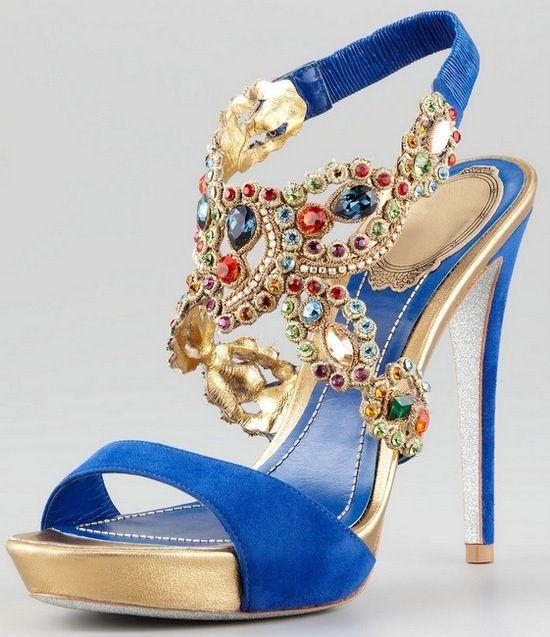mavi renkli taşlı ayakkabı modeli