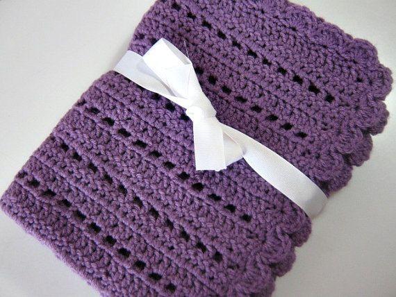 mor basit örgü bebek battaniye modeli
