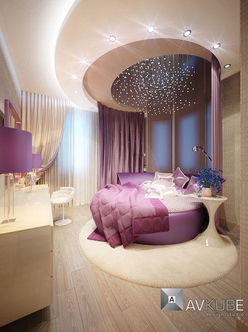 mor led detaylı yatak odası modeli