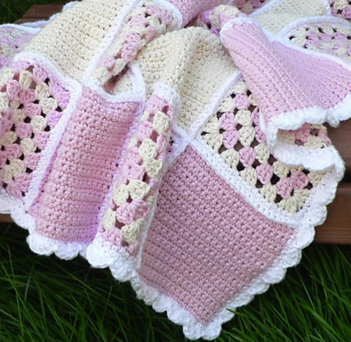 pembe beyaz örgü bebek battaniye modeli