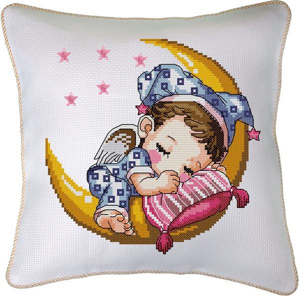 sevimli bebek figürlü etamin yastık modeli