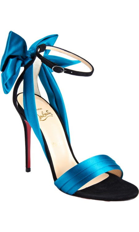 turkuaz saten detaylı ayakkabı modeli