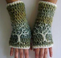 yeşil örgü eldiven modeli