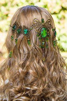 yeşil taşlı saç aksesuar modeli