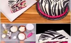 Renkli Zebra Yaş Pasta