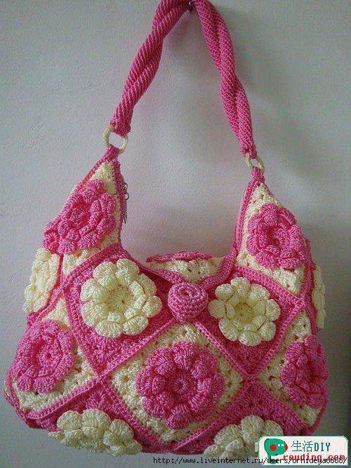 pembe çiçekli çanta