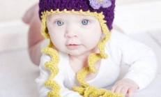 Mor Sarı Örgü Bebek Şapkası